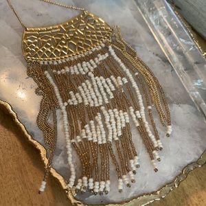 Stella & Dot Avalon Gold White Fringe Bib Necklace
